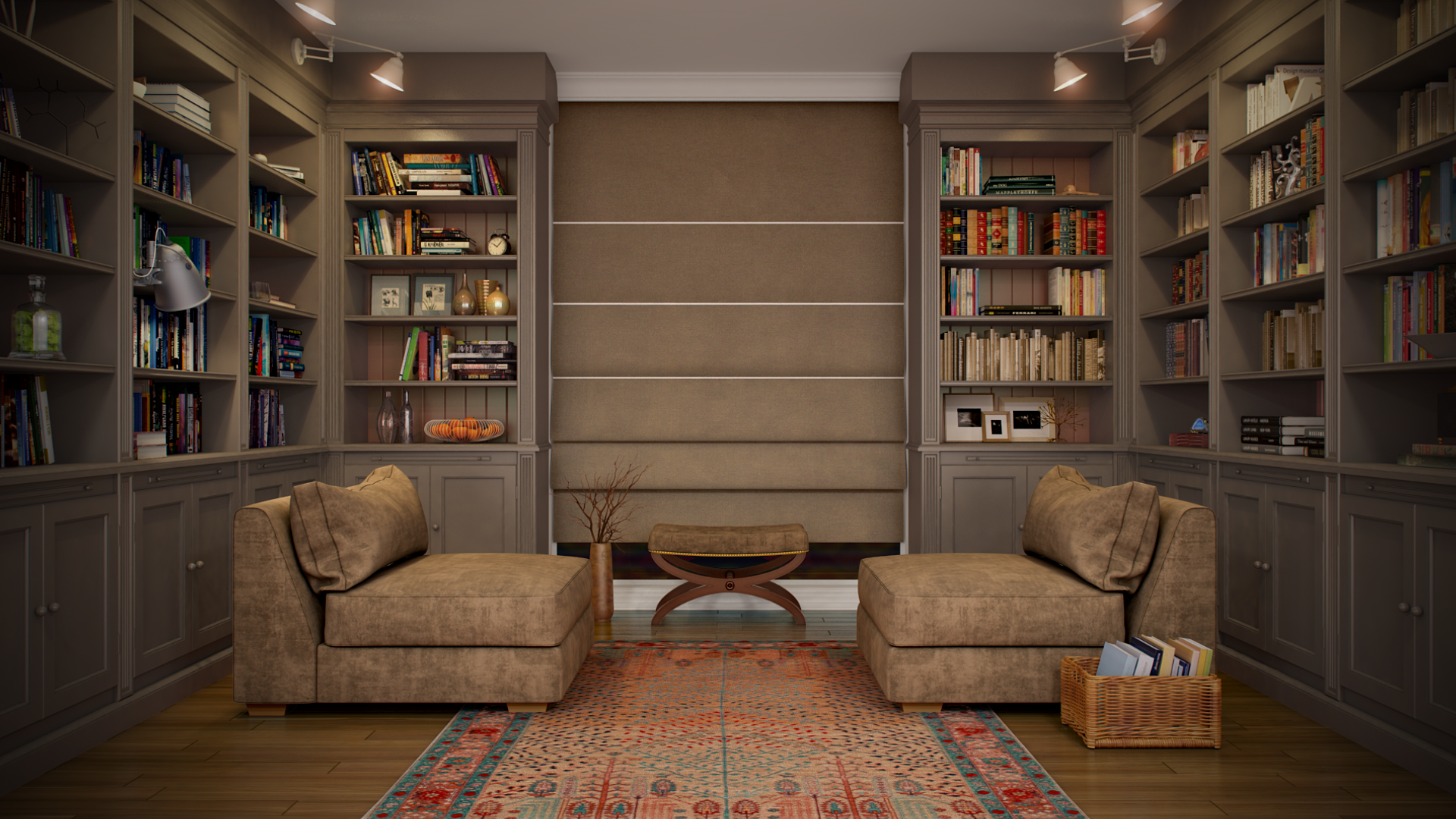 Library room portfolio work evermotion Small library room design ideas