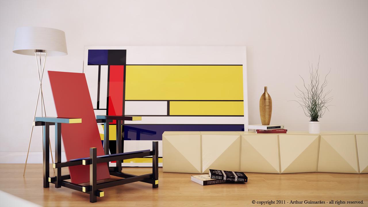 Rood Blauwe Stoel : Roodblauwe stoel design study portfolio work evermotion