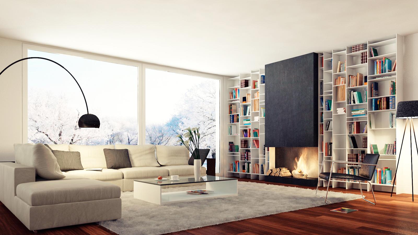 Living room portfolio work evermotion for Moderne woonkamer inrichting