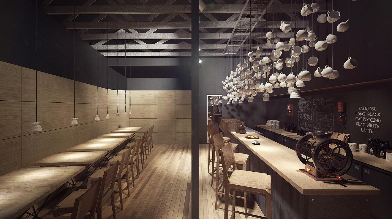coffee shop lighting. Coffee Shop Interior CGI By Wonder Vision Lighting