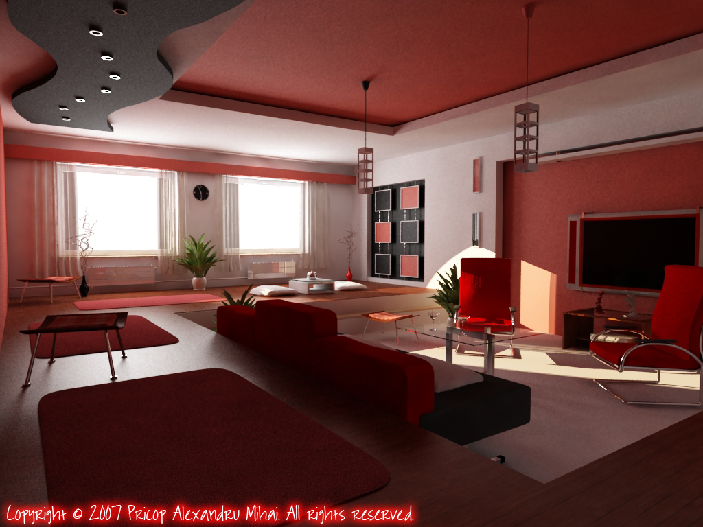 Red Living Room Red LivingRoom by pricop2008 Alexandru