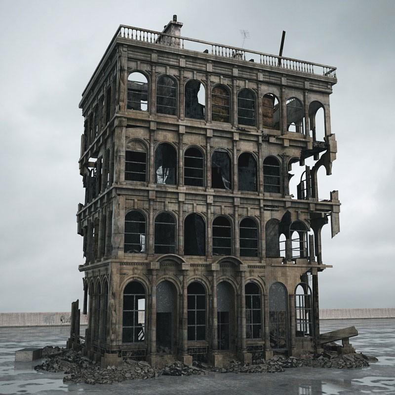 destroyed building 91 AM165 Archmodels