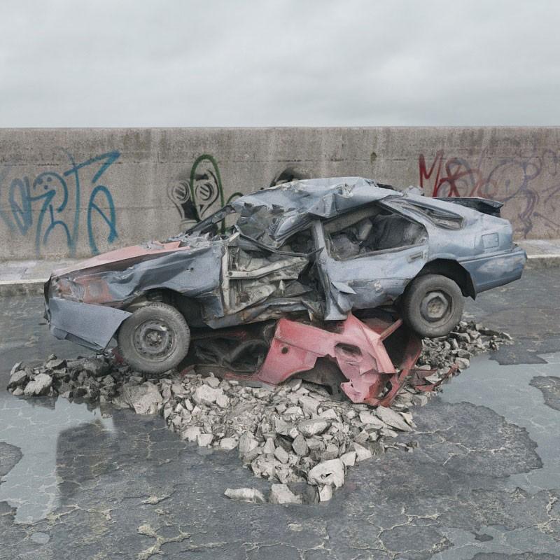 destroyed car 077 am165