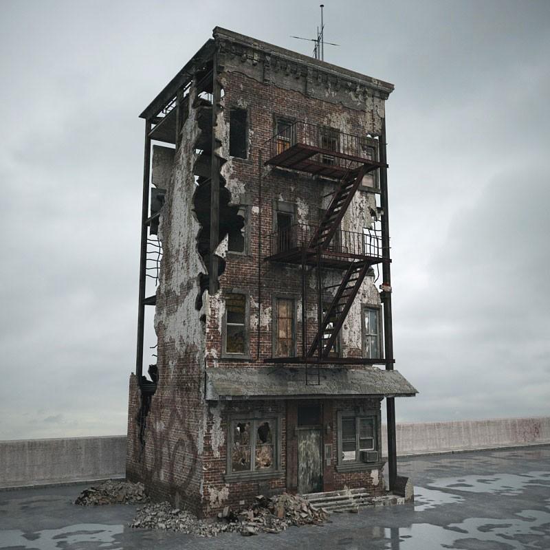 destroyed building 84 AM165 Archmodels
