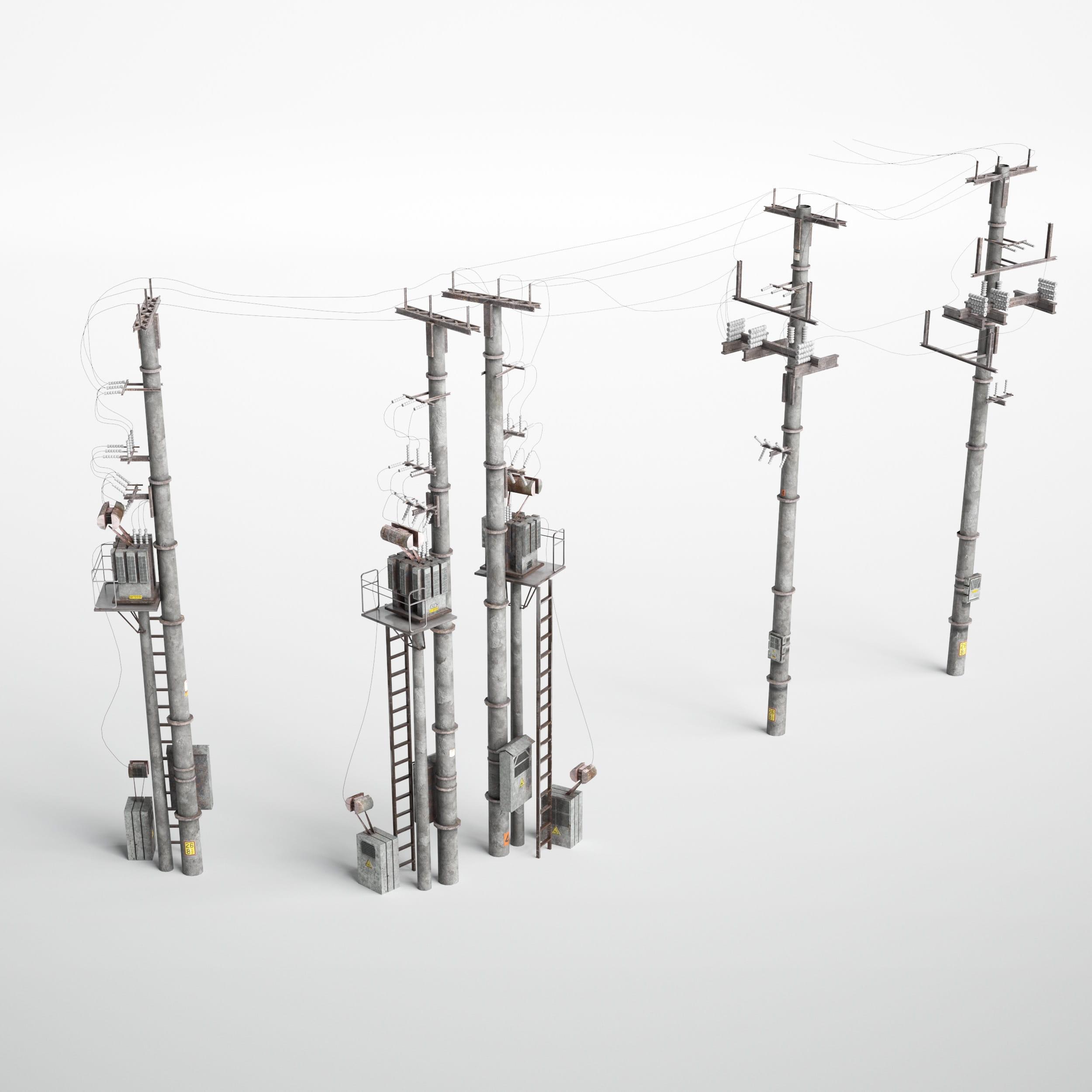 utility poles 25 AM227 Archmodels
