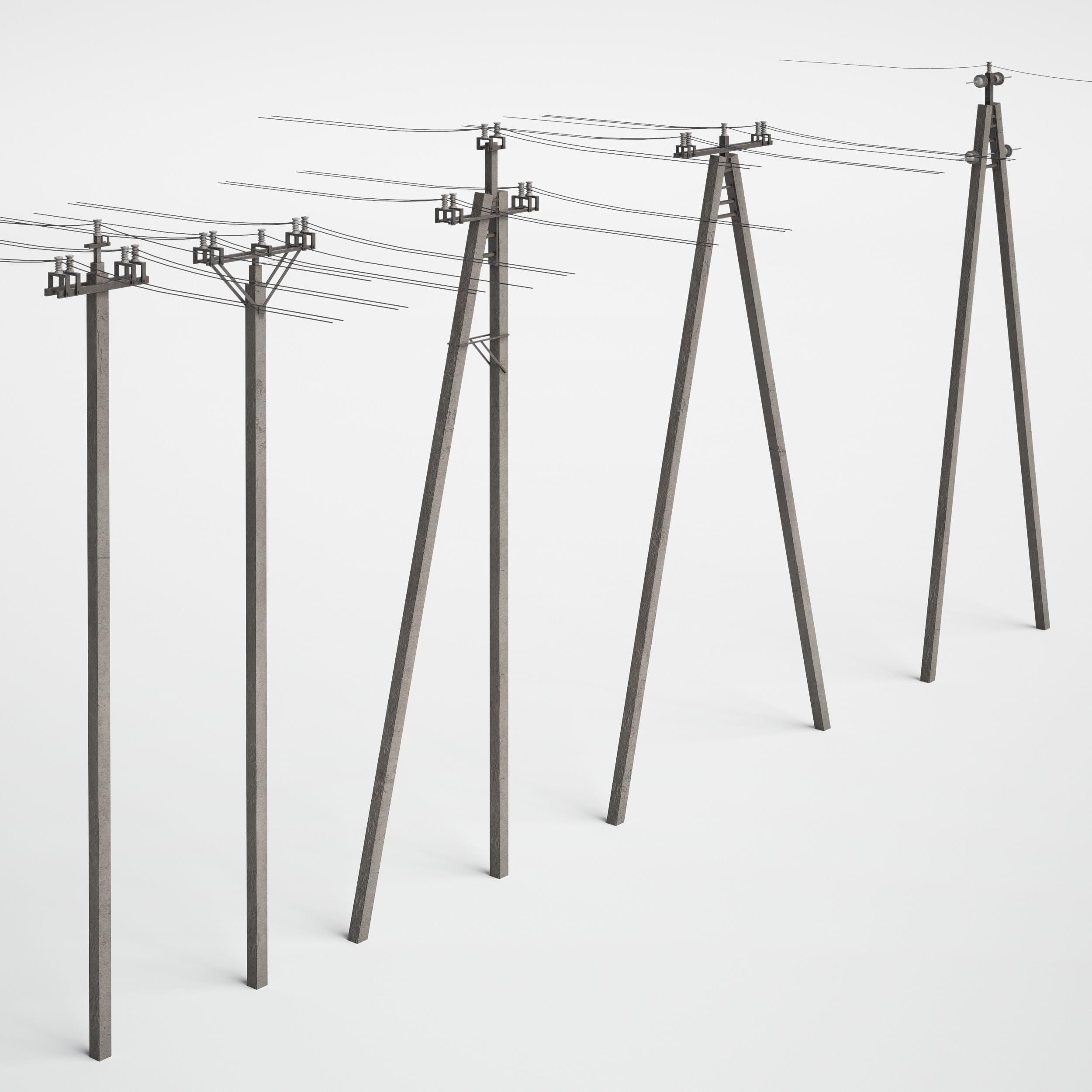utility poles 30 AM227 Archmodels