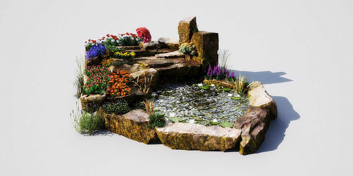Garden pond 11 AM148 Archmodels  max, obj, fbx 3D model  Evermotion