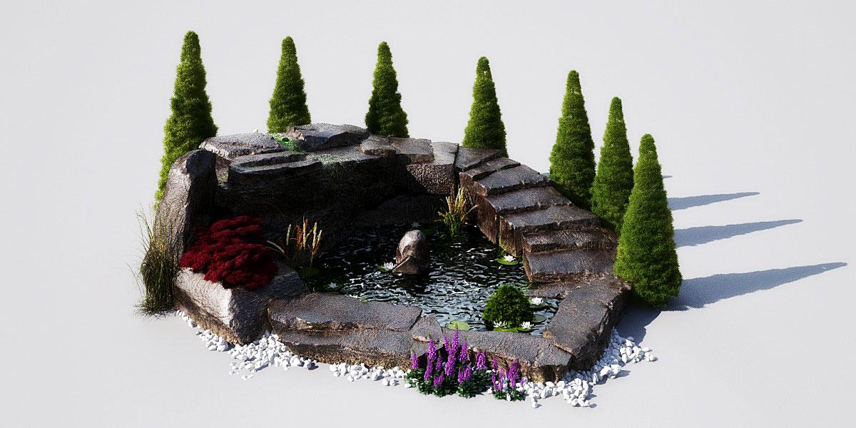 garden pond 12 AM148 Archmodels