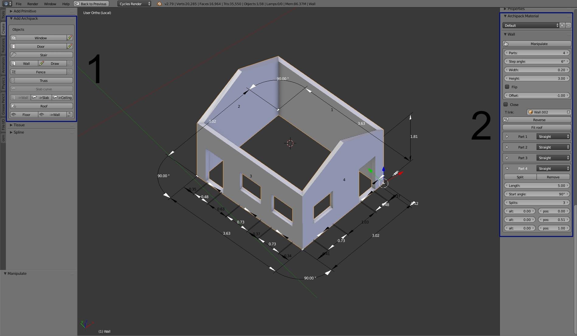 Archipack - testing new addon in Blender 2 79 - Evermotion org