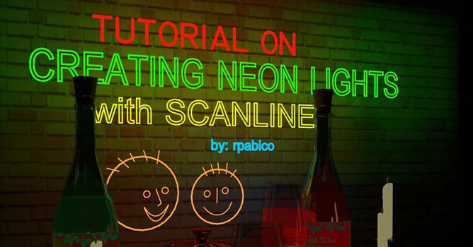 Creating Neon Lights with Scanline - Evermotion